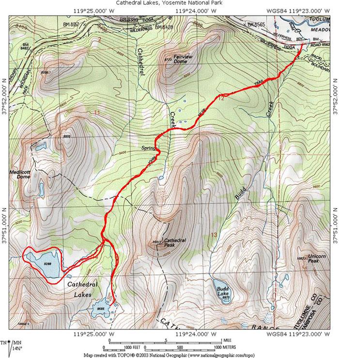Cathedral Lakes Yosemite Np Ca Topo Map Profile And
