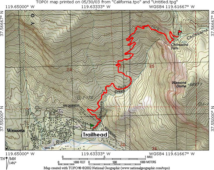 Chilnualna Falls Yosemite National Park Ca Topo Map Profile And