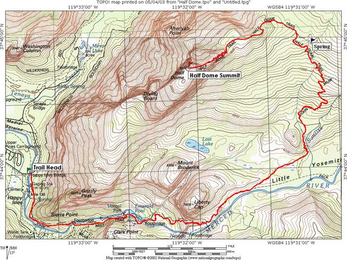 Half Dome; Yosemite NP, CA Topo Map, Profile and Trail Overlay Files