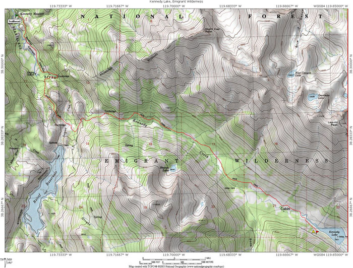 Kennedy Lake Emigrant Wilderness Ca Topo Map Profile