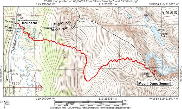 Mount Dana Yosemite National Park Ca Topo Map Profile