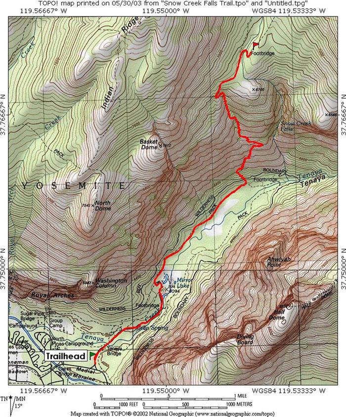 Snow Creek Falls Trail Yosemite Np Ca Topo Map Profile