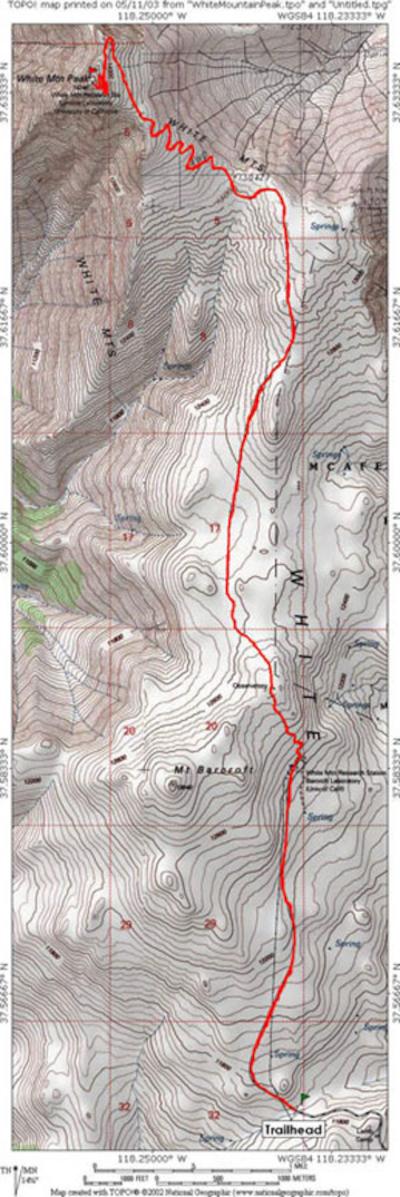 White Mountain Peak Inyo National Forest Ca Topo Map